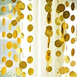 52 Feet 4 Value Pack Premium Glitter Gold Circle Dots Garlands Bunting Backdrop Decorations for Golden Party, Wedding Shower, Birthday, Baby Shower, Bridal Shower, Bachelorette Garland Decor