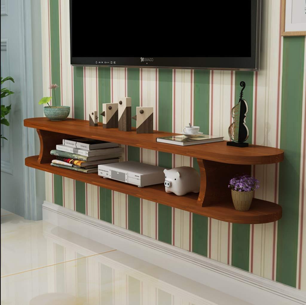 木製ウォールマウント棚テレビフローティング棚Wifiルーターラックセットトップボックス収納ボックス多機能ディスプレイ棚 (色 : B, サイズ さいず : 120CM) B07R9MF28Q B 120CM