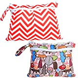 wet bag ecoable - Damero 2pcs/pack Cute Travel Baby Wet and Dry Cloth Diaper Organizer Bag, Tree+Red Chevron