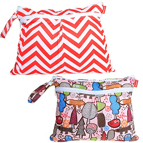 Damero 2pcs/pack Cute Travel Baby Wet and Dry Cloth Diaper Organiser Bag,...