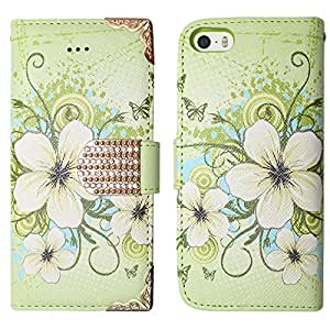 Hawaiian Flowers Wallet Protector Cover Phone Case Samsung Galaxy Note 4 + FREE PRIMO DESIGN CARTOON FOLDABLE TOTE BAG (GREEN)