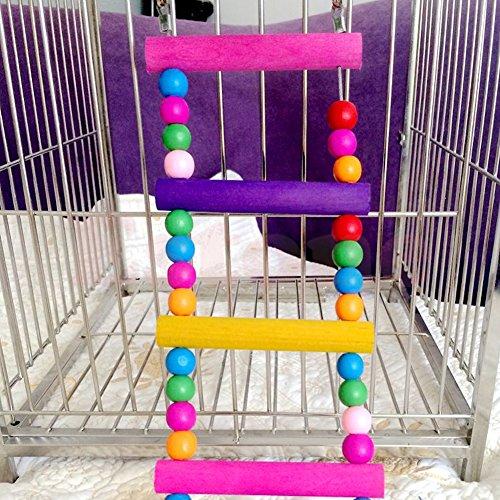 Itemap Pet Bird Swing Wooden Bridge Ladder Climb Parakeets Cockatiels Parakeet Budgie Parrot Toy (5 Steps) (10 steps) by Itemap (Image #4)