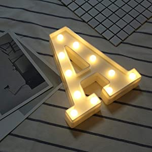 LED Marquee Letter Lights Sign 26 Alphabet Light Up Letters Sign for Night Light Wedding Birthday Party Battery Powered Christmas Lamp Home Bar Decoration (A)