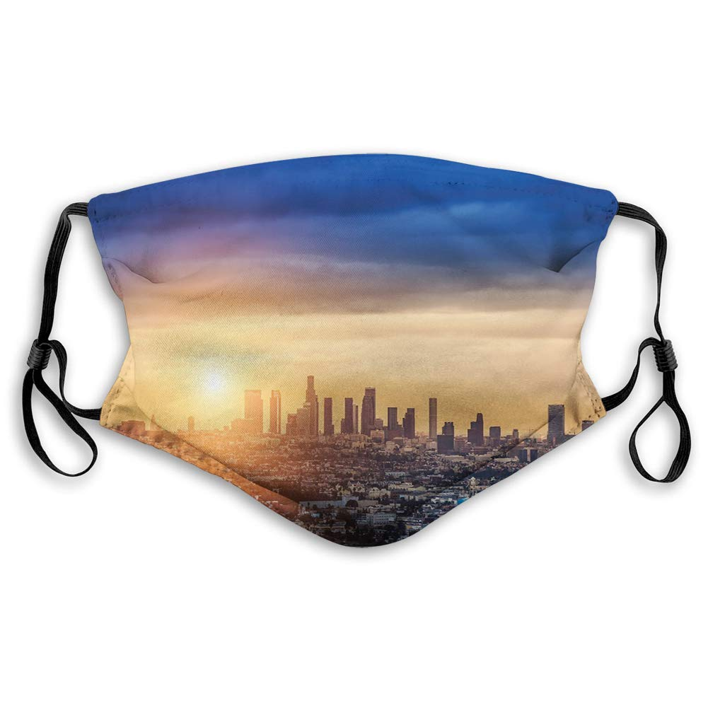 Funny Activated carbon mask,Sunrise at Los Angeles Urban Architecture Tranquil Scenery,Facialdecorationsforteens kids(s)