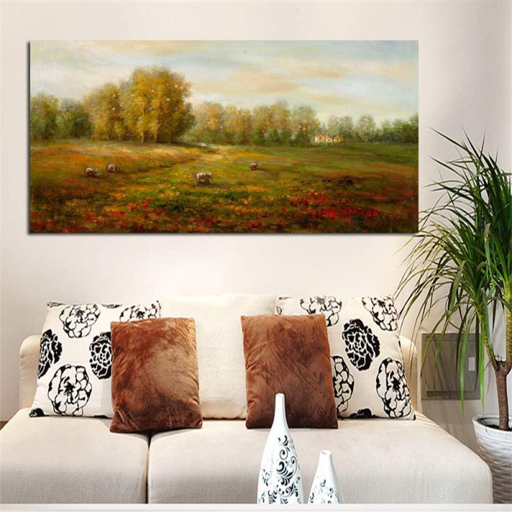 tzxdbh Impresión Moderna Cartel del Paisaje Pastoral Impresión HD Pintura al óleo Abstracta sobre Lienzo Imagen de Pared para Sala de Estar en Pintura y caligrafía de 40X80 cm sin Marco: Amazon.es: