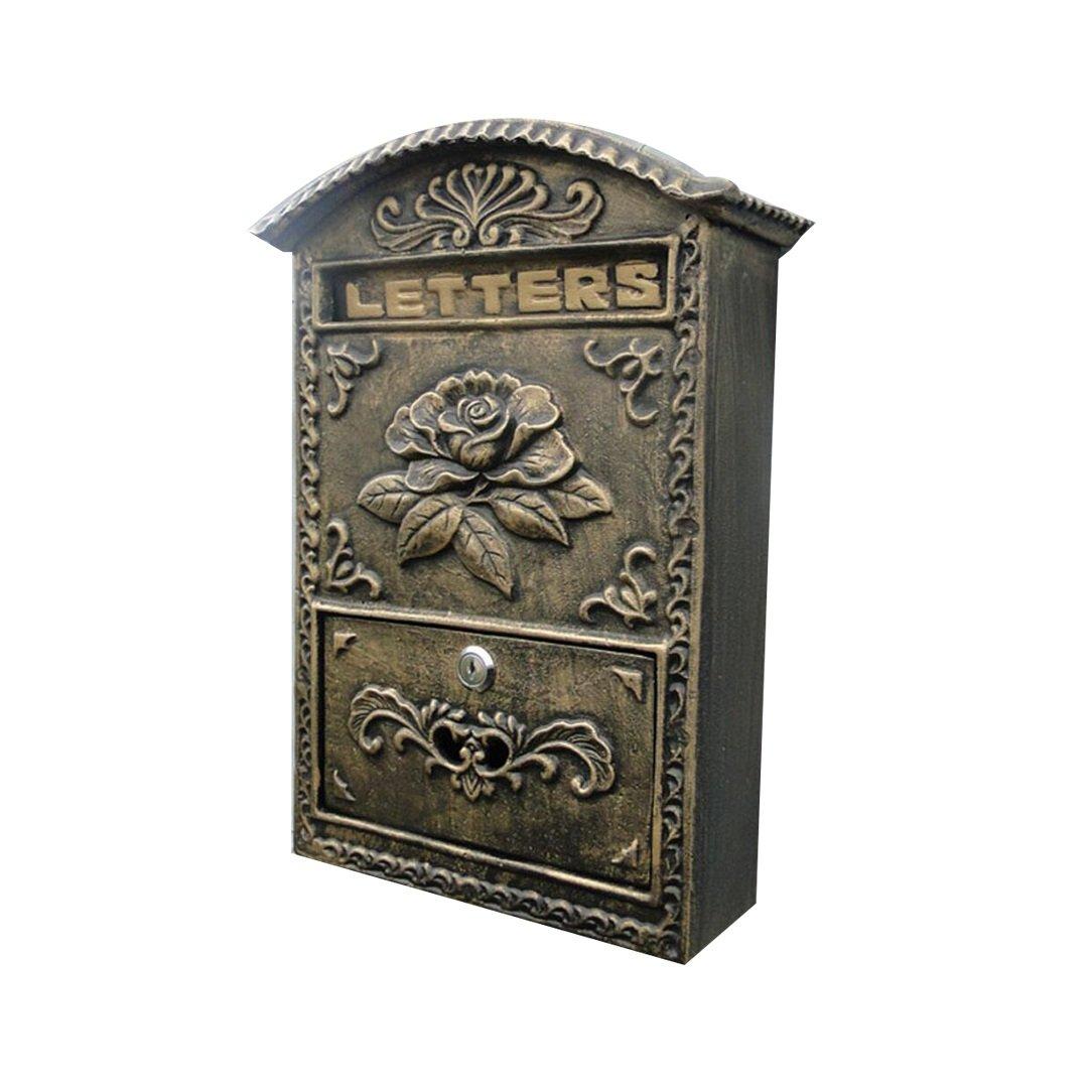 HTDZDX ビンテージの壁掛け郵便受け2つのセキュリティキー付き郵便局ボックスSupplied-24.5 * 8.2 * 34.5cm   B07SX215PD