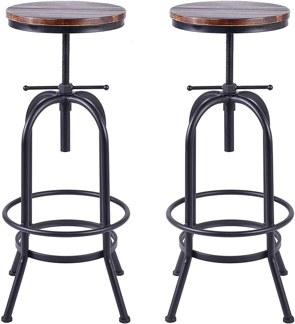 Diwhy Set of 2 Vintage Industrial Bar Stools,Round Wood and Metal Swivel Bar Stool,Kitchen Counter Height Adjustable Stool,Fully Welded,Extra Tall Pub Height 28-34 Inch Style 3