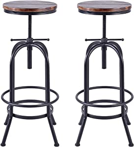 Diwhy Set of 2 Vintage Industrial Bar Stools,Round Wood and Metal Swivel Bar Stool,Kitchen Counter Height Adjustable Stool,Fully Welded,Extra Tall Pub Height 28-34 Inch(Style 3)