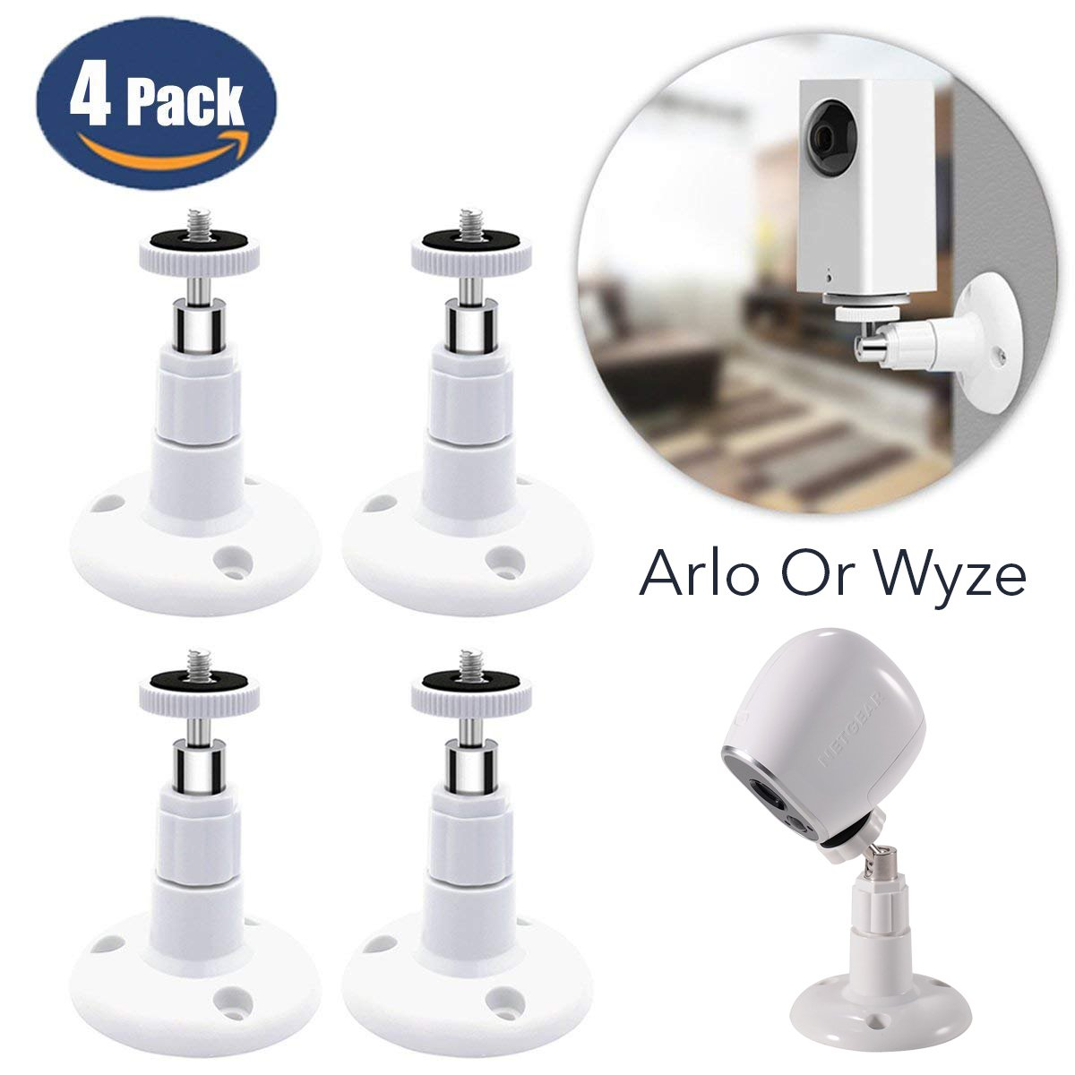 4 Pack Wyze, Arlo Camera Articulating Wall Mount Bracket, Adjustable Indoor 360 Degree Swivel Ceiling Mount Braket for Wyze Cam, Arlo Cam Pan Camera (White) by Fstop Labs
