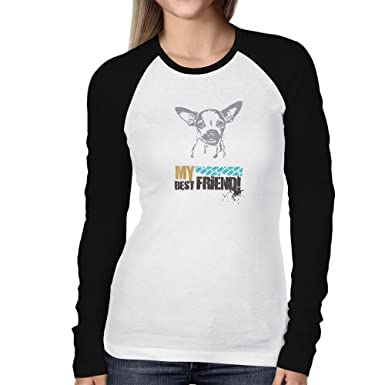2ebaf7ce Image Unavailable. Image not available for. Color: Teeburon Chihuahua MY  BEST FRIEND URBAN STYLE Women Long Sleeve Raglan T-Shirt