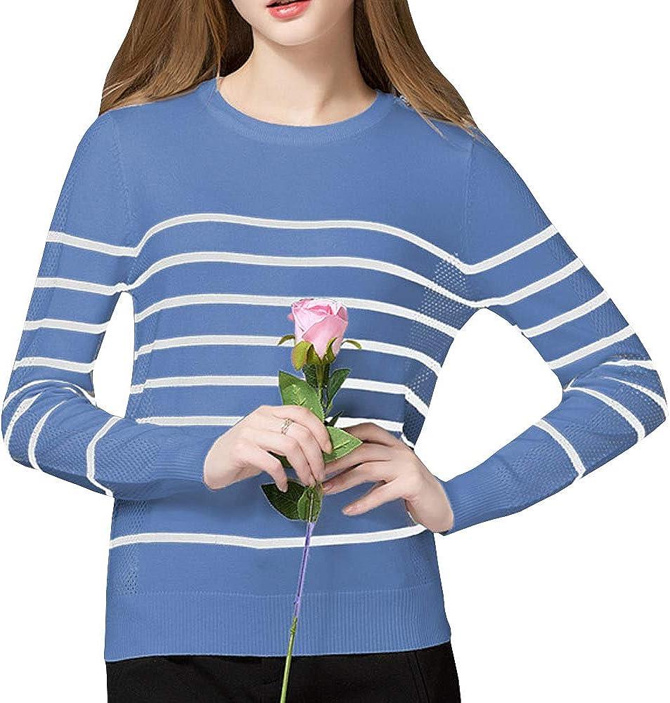 DISSA S7619808 Women Long Sleeve Striped Slim Top Pullover Knitwear Sweater