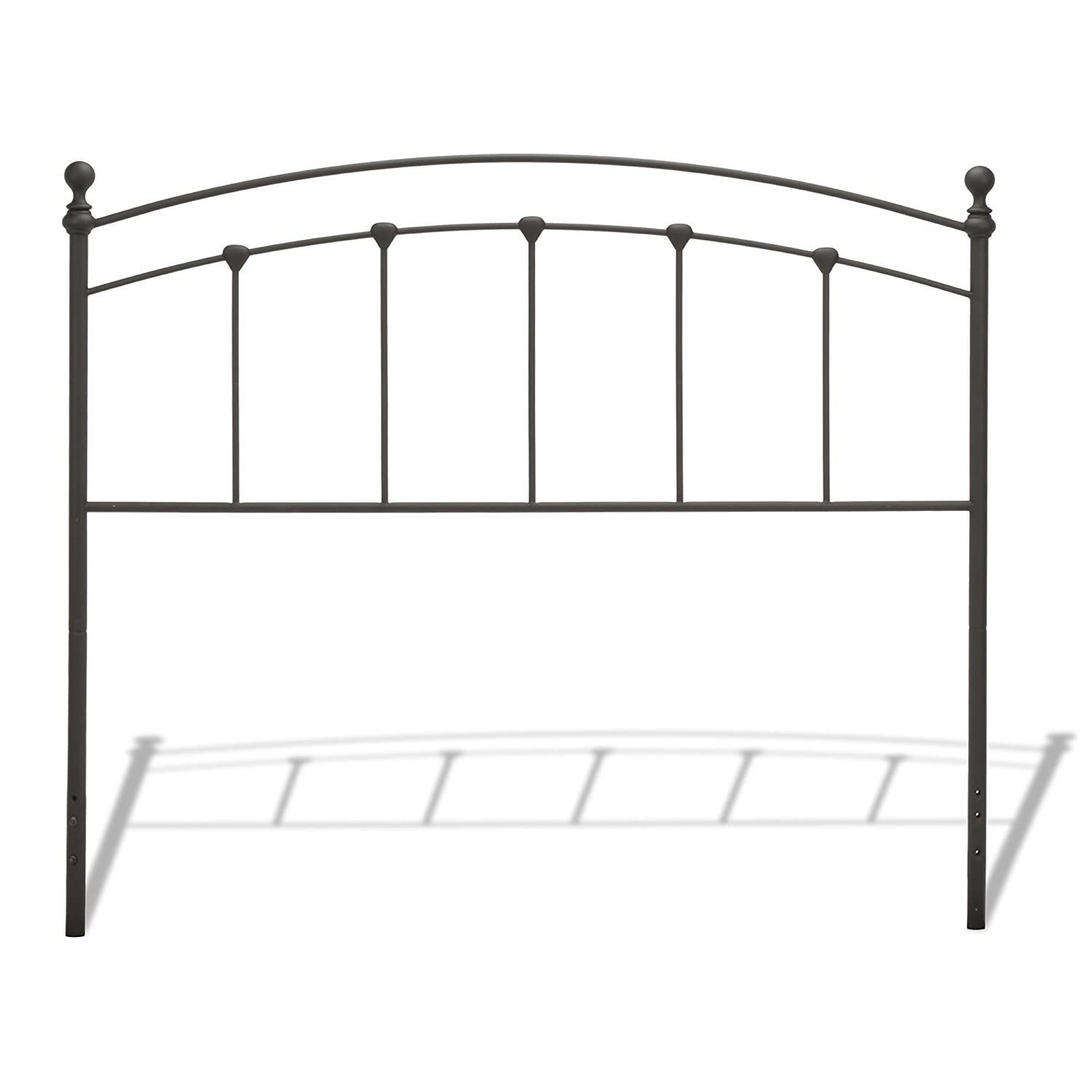 Sanford Metal Headboard with Castings and Round Finial Posts, Matte Black Finish, Twin B42443