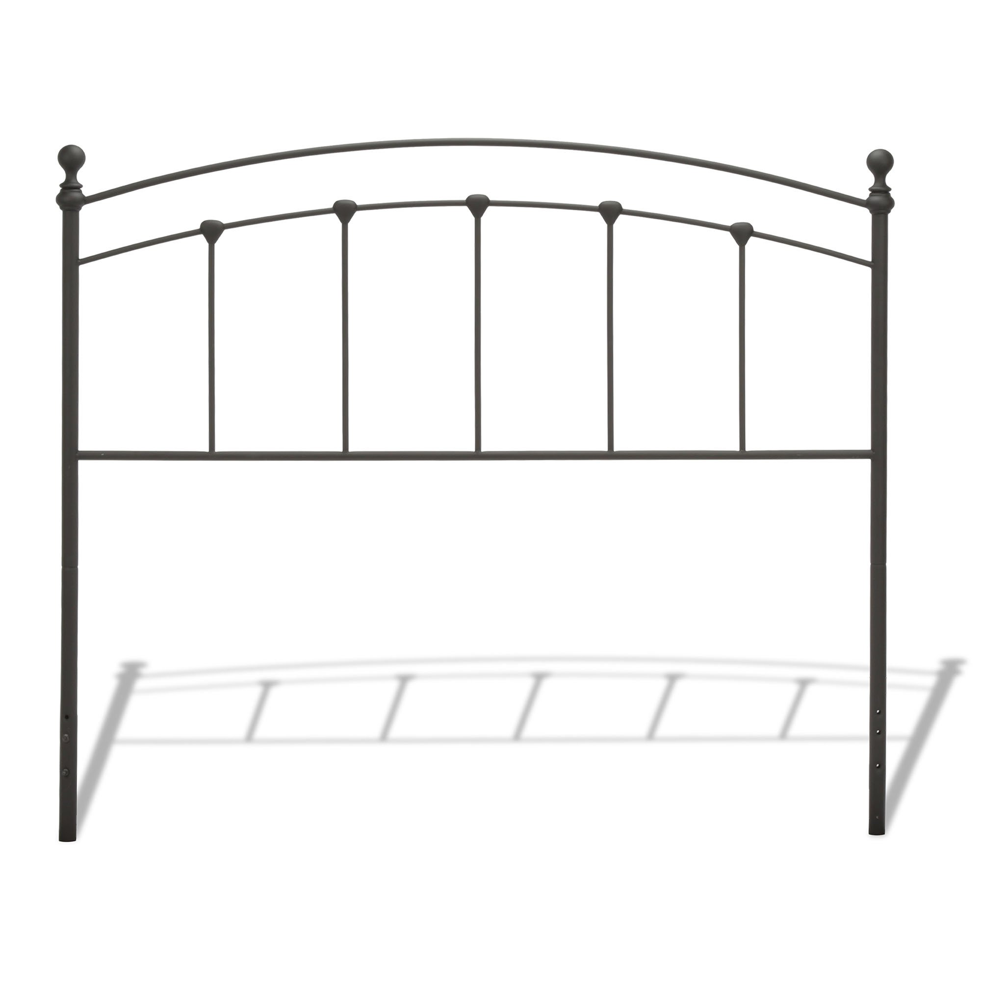 Sanford Metal Headboard with Castings and Round Finial Posts, Matte Black Finish, Twin
