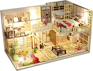 CUTEBEE Dollhouse Miniature with Furniture, DIY Wooden Dollhouse Kit Plus Dust Proof and Music Movement , 1:24 Scale Creative Room Idea (Japanese Style Apartment)