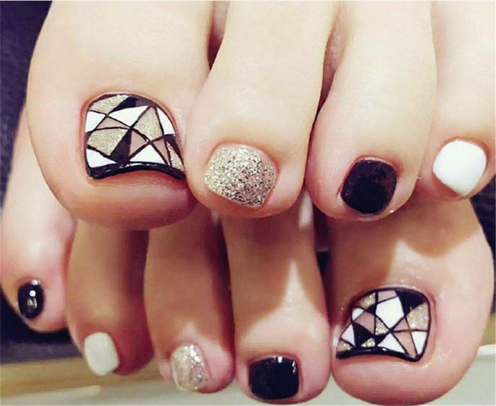 BloomingBoom 24 Pcs 12 Sizes Full Cover False Fake Nail Toes Toenail Artificial Design Nail Art Tips Woman Girl Elegant Gift Glitter Triangular Gold Glitter Ltd