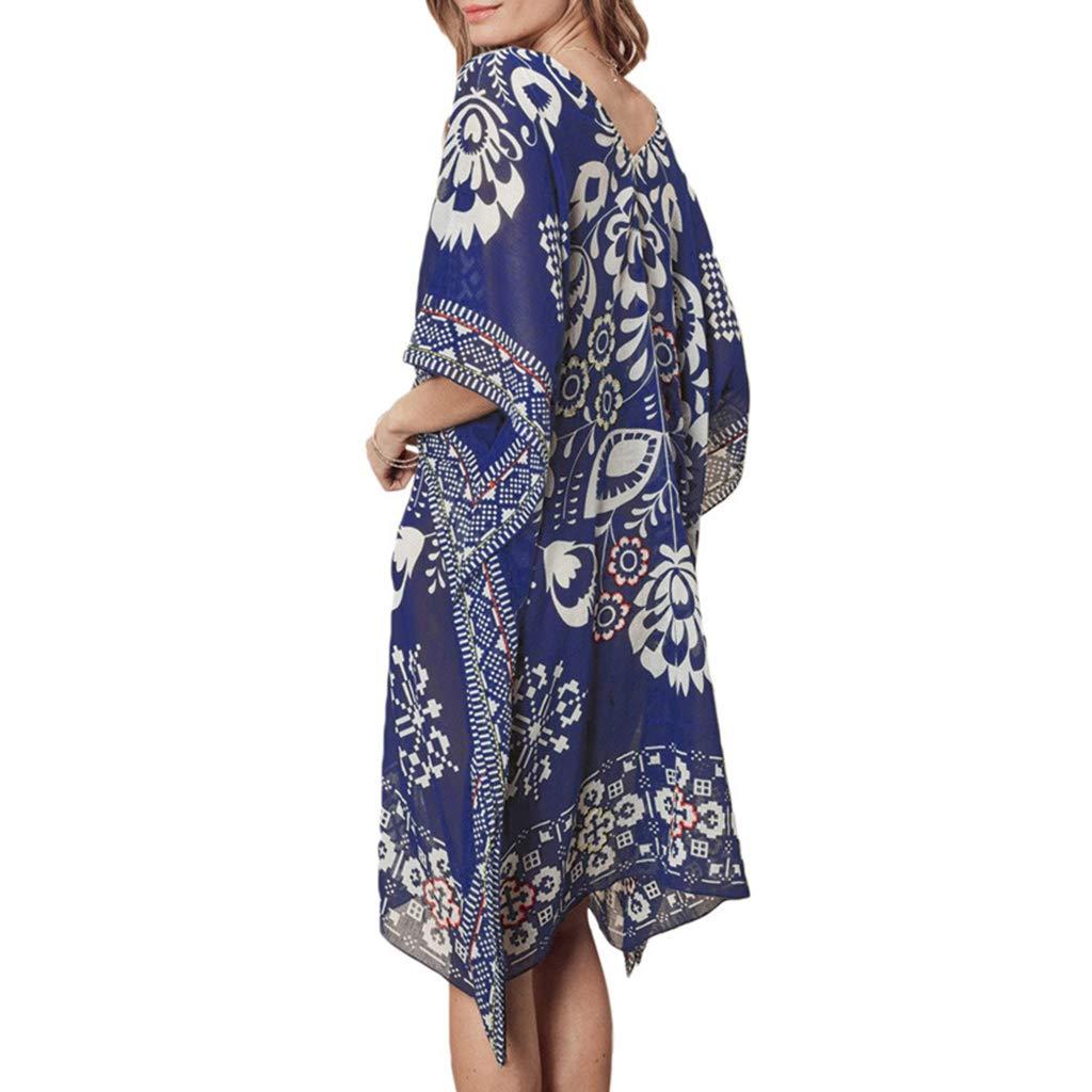 Women's Clothing Womens Summer Chiffon Deep V-neck Beach Dress Ethnic Retro Geometric Floral Printed Bikini Cover Up Semi Sheer Oversized Loose P Fine Quality