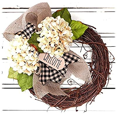Decorative Cream Hydrangea Wreath for Front Door - Handcrafted All Season Wreath for Spring, Summer, Fall and Winter