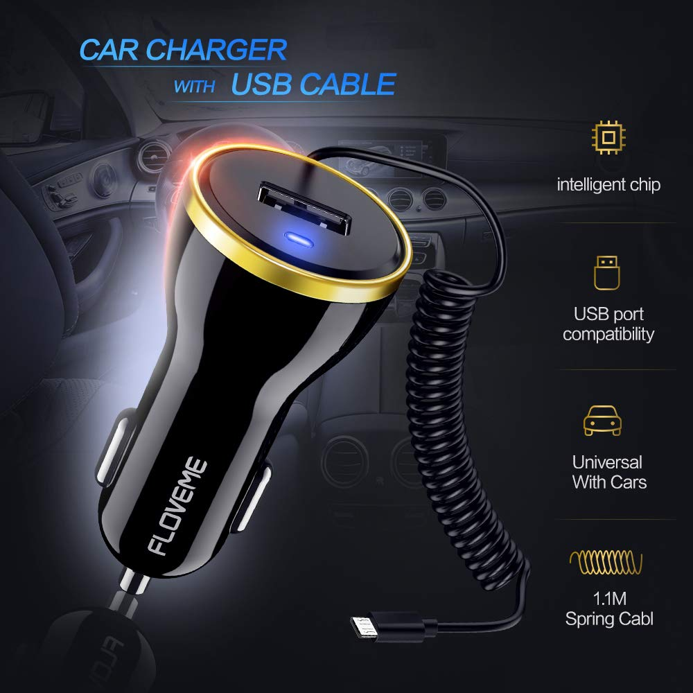 S9+//N8,Moto Z Z2,LG V30 V20 G5 G6,Nexus 5X//6P etc. FLOVEME Coiled Cable Car Charger USB Port 5V//2.1A MAX USB Cable 5V//1A with Smart Identification for Galaxy S8// S8+//S9 USB C Charger for Car