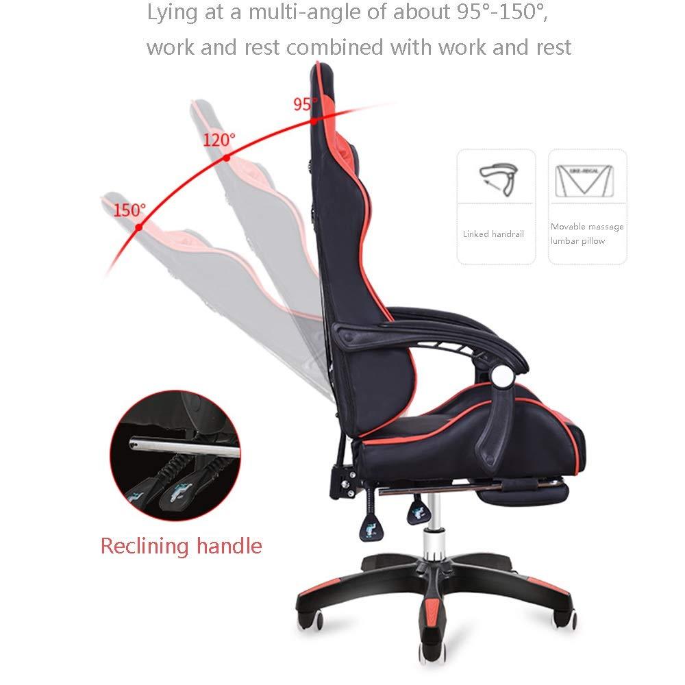Kontorsstol vilande kontorsstol med fotstöd multifunktion spelstol justerbar höjd högt ryggstöd verkställande stol med nackstöd och ländrygg massagestöd (färg: Svart röd) blå vit