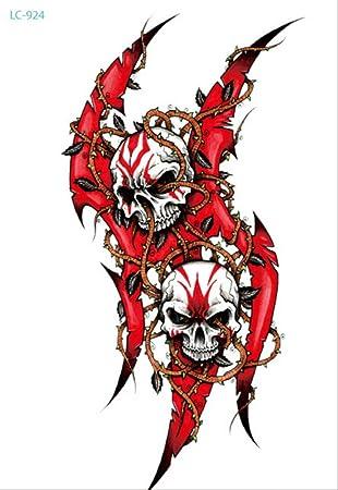 LNNHJB Etiqueta engomada Realista del Tatuaje del cráneo Realista ...