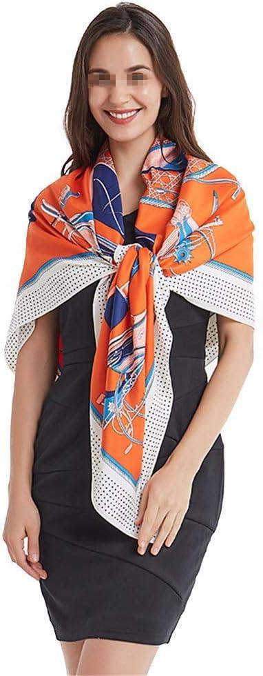 YGB Acogedoras Bufandas cuadradas de satén Grande para Mujer Bufanda para el Cabello con sensación de Seda Naranja Caballo Sarga 130 cm térmico (Color: Naranja, Tamaño: 130 * 130 cm)