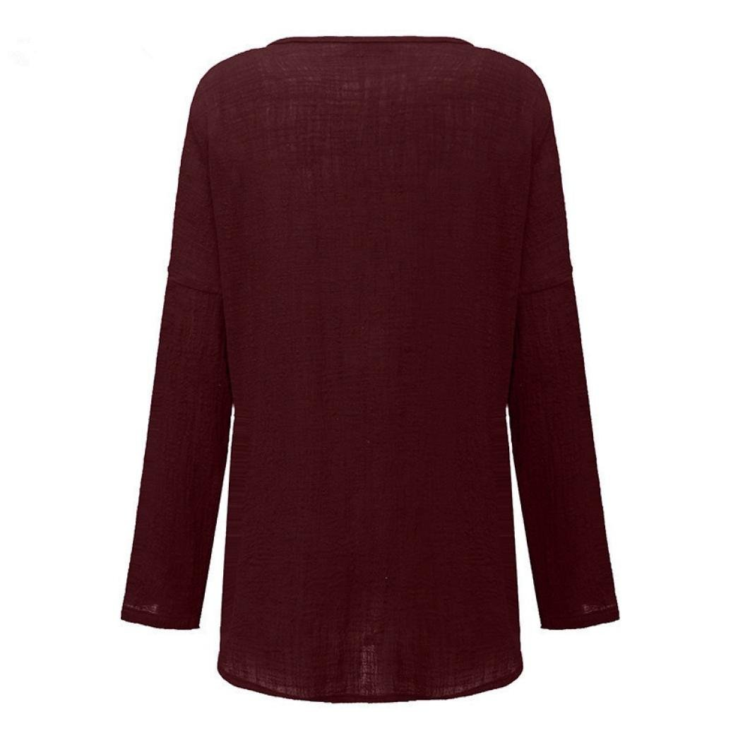 FORUU T Shirts for Women Cotton Linen Thin Section Loose Long Sleeve Blouse Pullover (M, Wine) by FORUU womens Tops & Tees (Image #3)