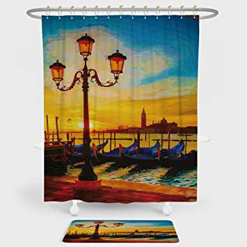 Venice Shower Curtain And Floor Mat Combination Set Antique Lantern Gondolas Floating In The Grand
