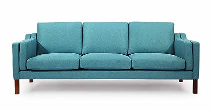 Kardiel Monroe Mid Century Modern Sofa 3 Seat, Dutch Blue Houndstooth Twill