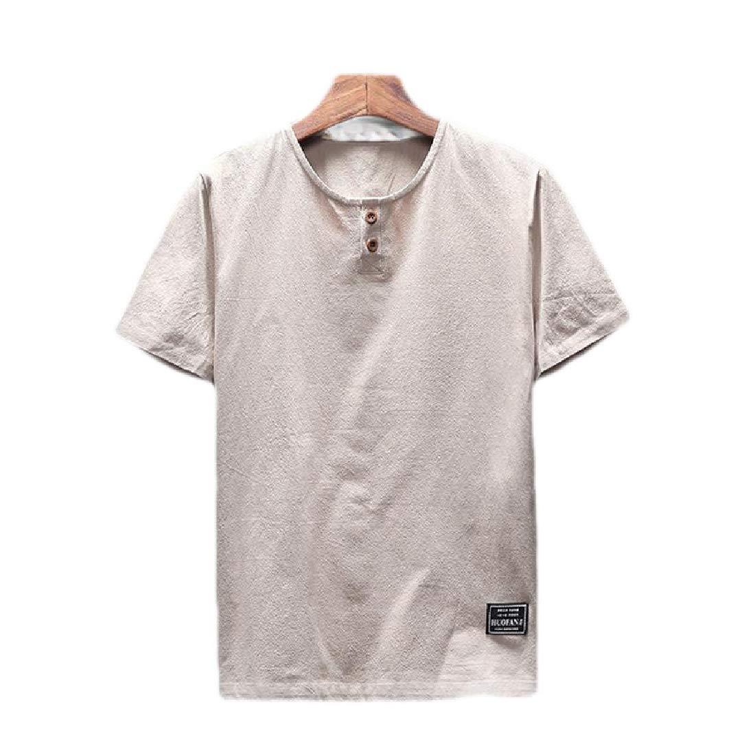 pipigo Men Summer Chinese Style Short Sleeve Stylish Linen T-Shirt Tee Top