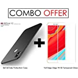 WOW Imagine 360 Degree All Angle Protective Ultra-Slim Fit Non-Slip Lightweight Shell Rubberised Matte Hard Back Cover with 9H 5D Tempered Glass Combo for Xiaomi Mi Redmi Y2 June 2018 (Pitch Black)