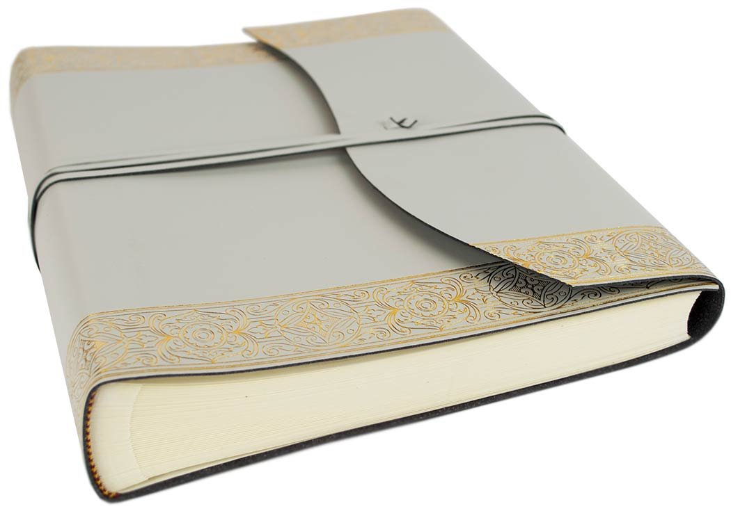 LEATHERKIND Angelus Recyceltes Leder Fotoalbum, Large Gold - Handgefertigt in Italien
