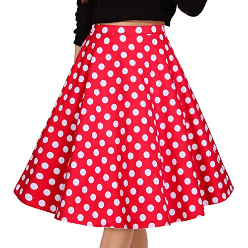 Musever Women's Pleated Vintage Skirts Polk A Dot Print Red/White Casual Midi Skirt 3XL
