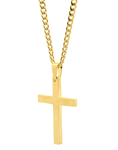 Amazon mens and ladys stainless steel gold tone plain cross mens and ladys stainless steel gold tone plain cross medal pendant 4mm 24quot cuban necklace aloadofball Image collections