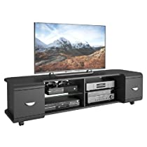 TV Stand Home Theater Entertainment Center With Large Open Shelves & 2 Drawers For TVs Up To 73