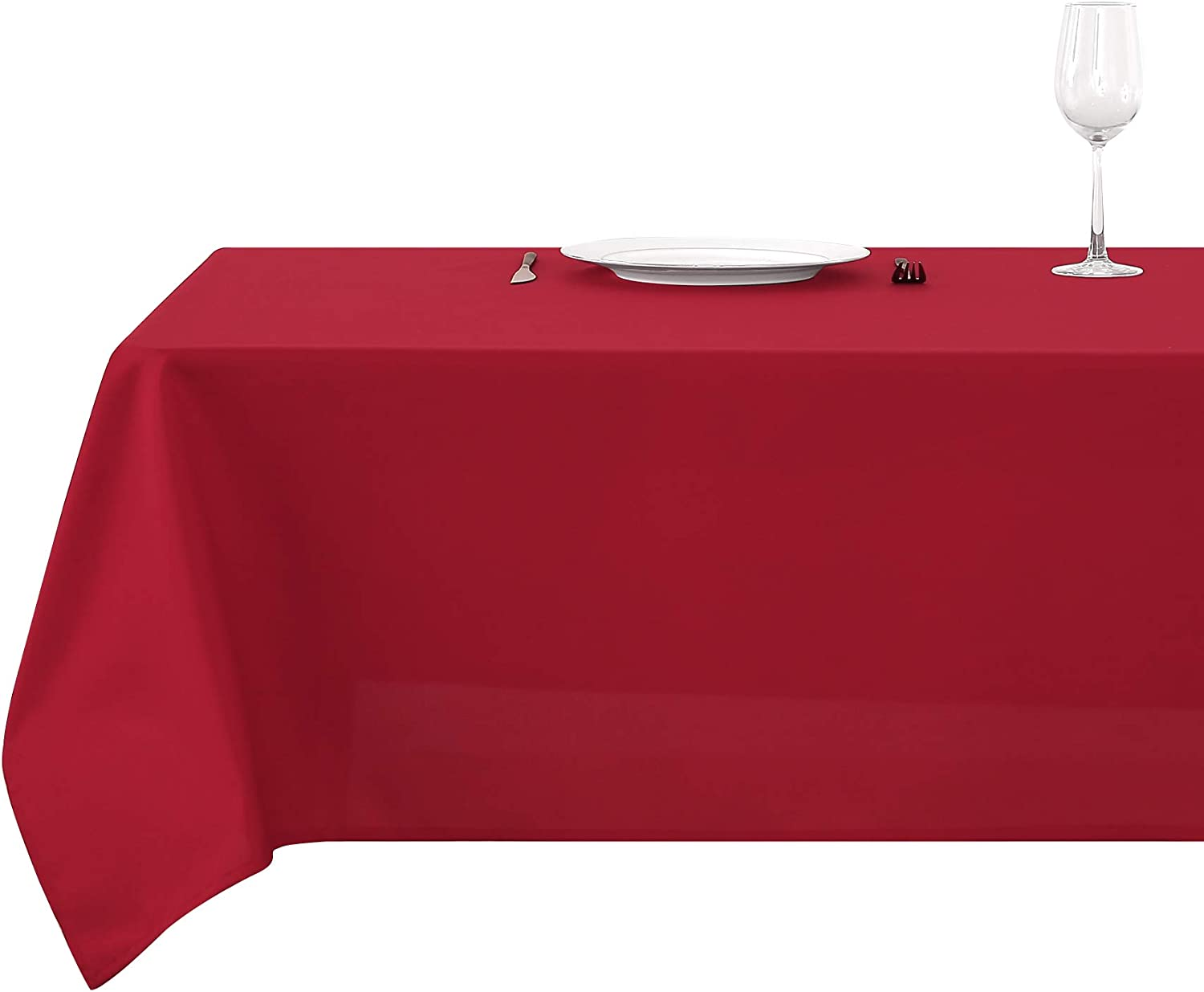 Deconovo Solid Tablecloth Water Resistant Rectangular Tablecloth for Christmas Party 60 x 84 Inch Red
