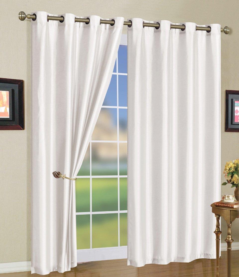 White curtains - Amazon Com Bedinabag Mira Grommet Window Curtain Panels 58 X 108 White Home Kitchen