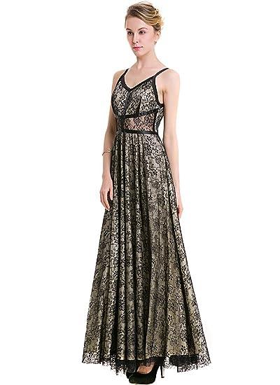 KAXIDY Ladies Black Evening Dresses Gowns Wedding Holiday Maxi Dresses: Amazon.co.uk: Clothing