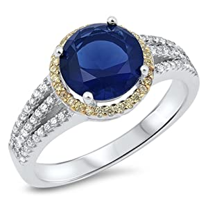 Round Blue Simulated Sapphire Gold-Tone Halo Ring .925 Sterling Silver Band Size 9 (RNG16776-9)