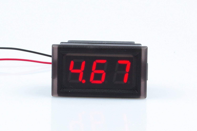 Waterproof Monitor 2-Wires DC 3.5-30v 5V 6V 9V 12v 24v Volt Battery Meter Voltage Tester Automative Electric Cars Gauge Small Digital Voltmeter RED 0.52'' LED Display