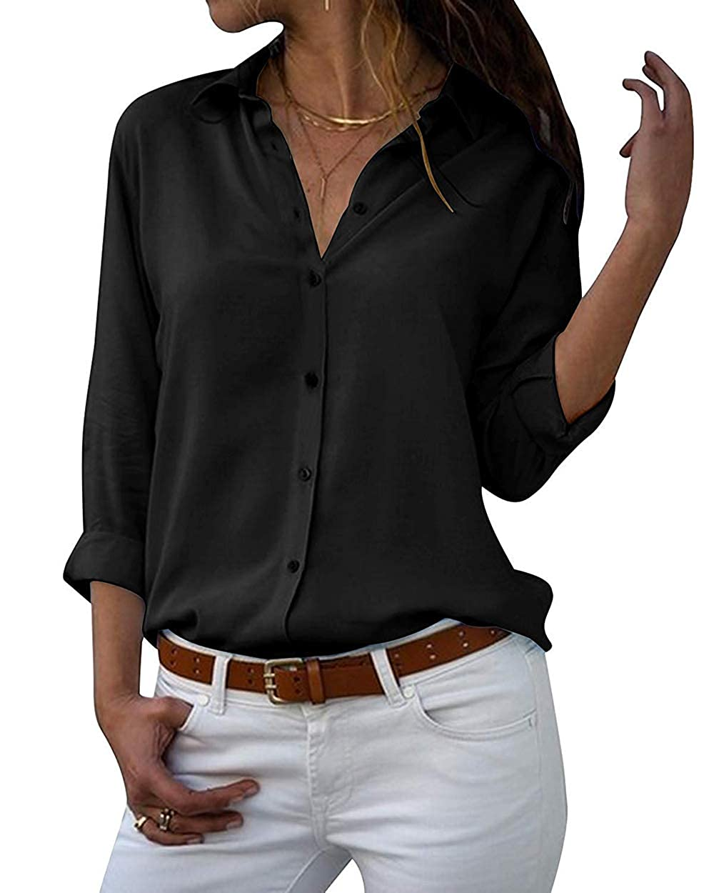 Yieune Chiffon Bluse Elegant Damen Langarmshirt V-Ausschnitt Casual Oberteile Hemd Lose Shirt