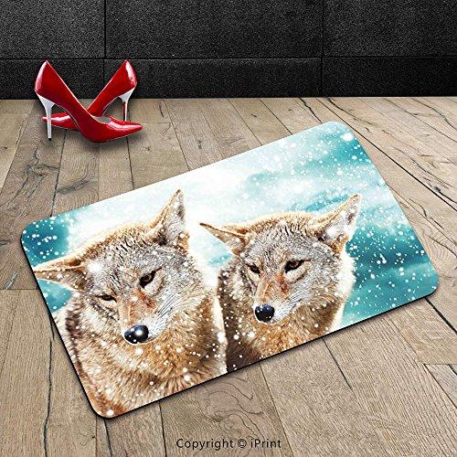 Custom Machine-washable Door Mat Animal Two Coyote Wolf Partners under Snowy Winter Day Wild Creatures Mammal Picture Sand Brown Teal Indoor/Outdoor Doormat Mat Rug Carpet