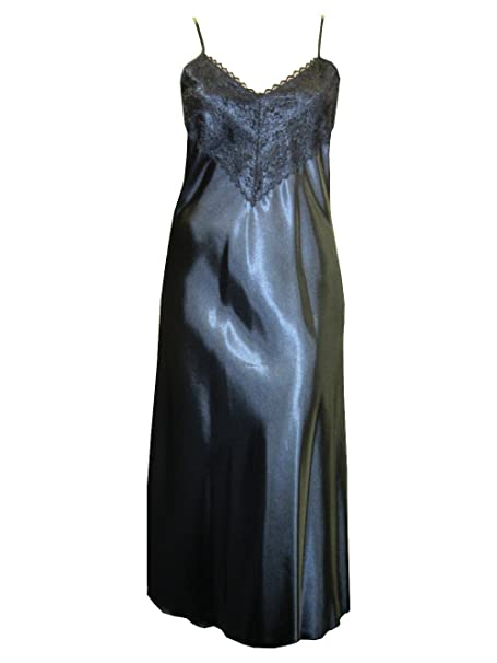 c474407d1f Womens Long Flowing Sexy Satin Nightdress Lace Bust Thin Shoulder Straps  Made in the UK in a Selection of Gorgeous Colours  Amazon.co.uk  Clothing