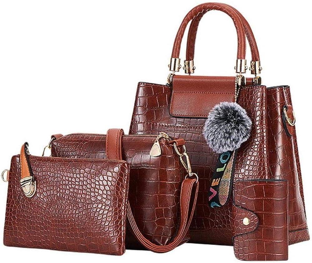 A-Gavvzq 4Ps Bolsos de mujer Set Bolsos de lujo para mujer Bolsos de hombro de cuero de la PU Bolsos compuestos de marca Bolso de mensajero 4ps Brown