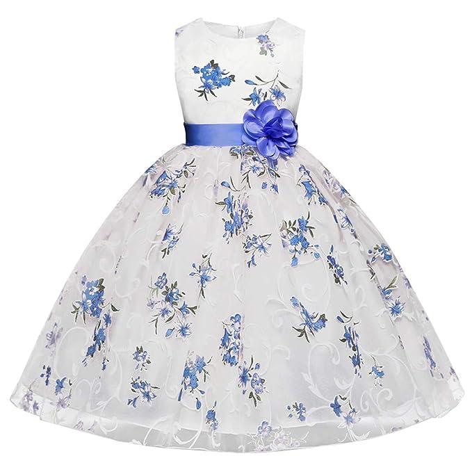 46e6fbcf1 Ankoee Vestido Elegante Boda Fiesta con Flores para Niña Vestido ...