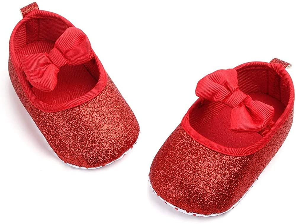 Lanhui Newborn Shoes Baby Girls Cute Bowknot Bling Single Walkers Soft Sole Shoes