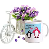 TIED RIBBONS Mothers Day Special Gifts | Gift for Mother in Law | Mothers Day Gifts from Son | Mothers Day Gifts | Cycle vase with Artificial Flowers and Coffee Mug(325 ml)