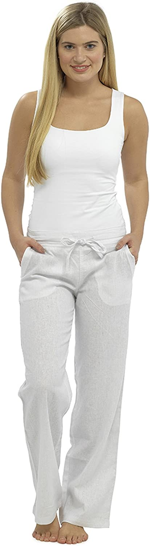 Lora Dora para Mujer Lino Pantalones Pirata Capri/Pantalones de Longitud Completa UK 10–18