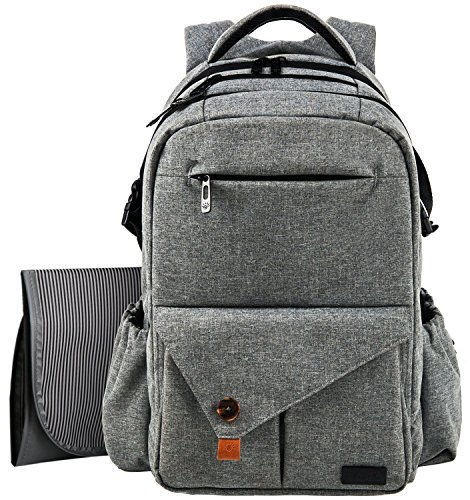 Hap Tim Multifunction Large Baby Diaper Bag Backpack W Stroller StrapsInsulated Bottle PocketsChanging Pad, Nylon Fabric Waterproof for Moms Dads 5284Gray