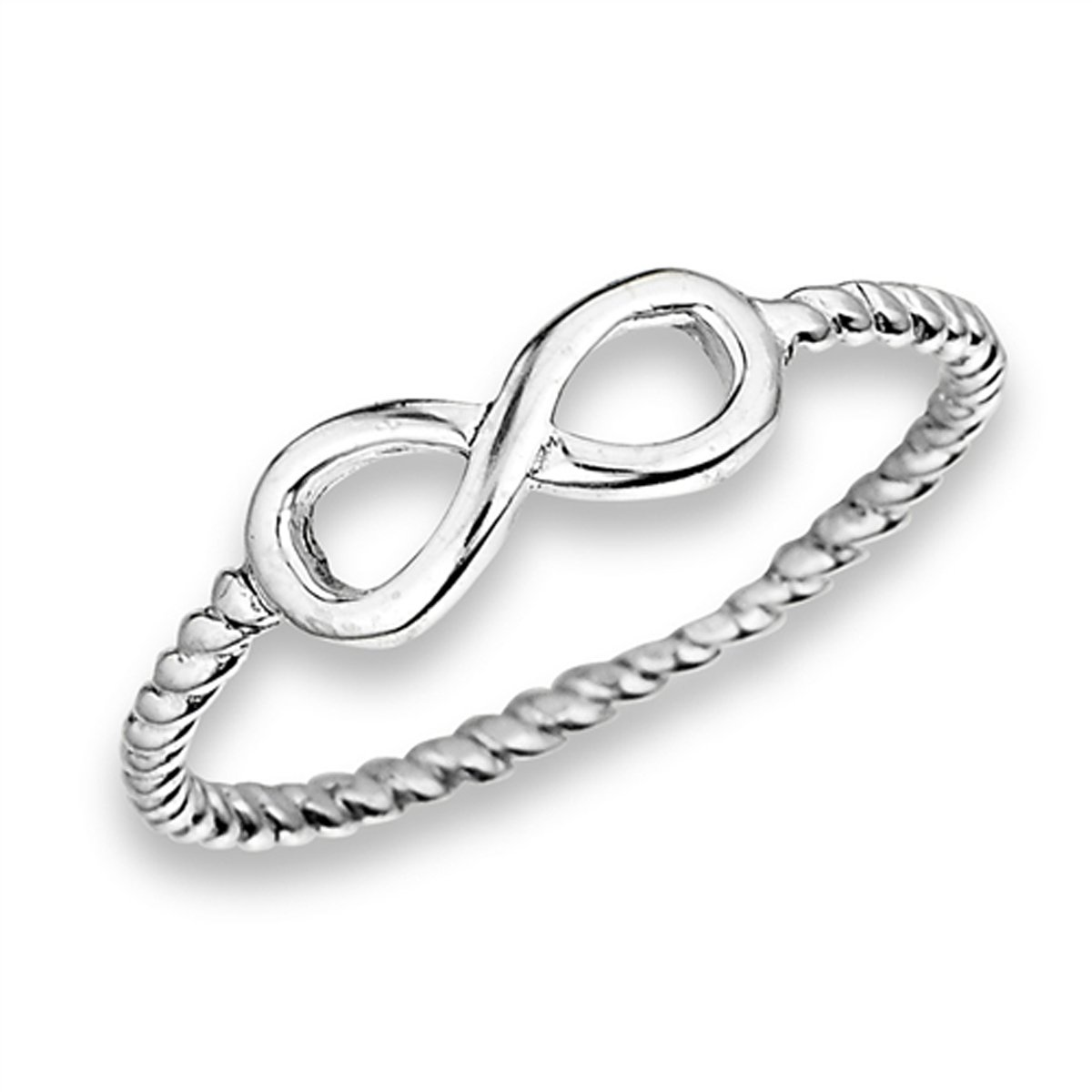 Sterling Silver Stunning Women's Flawless Colorless Cubic Zirconia Infinity Ring (Sizes 4-10) (Ring Size 8)