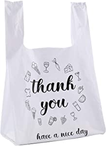 Foraineam 500 Ct Plastic Bags Thank You Reusable Grocery Bag - 13 x 7 x 21 inch, 15 mic, 0.6 mil T-shirts Carryout Shopping Bags